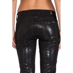 7 For All Mankind Snakeskin Print Skinny Jeans